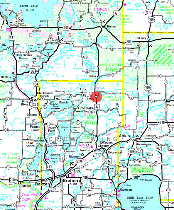Minnesota State Highway Map of the Emily Minnesota area