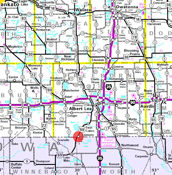 Minnesota State Highway Map of the Emmons Minnesota area