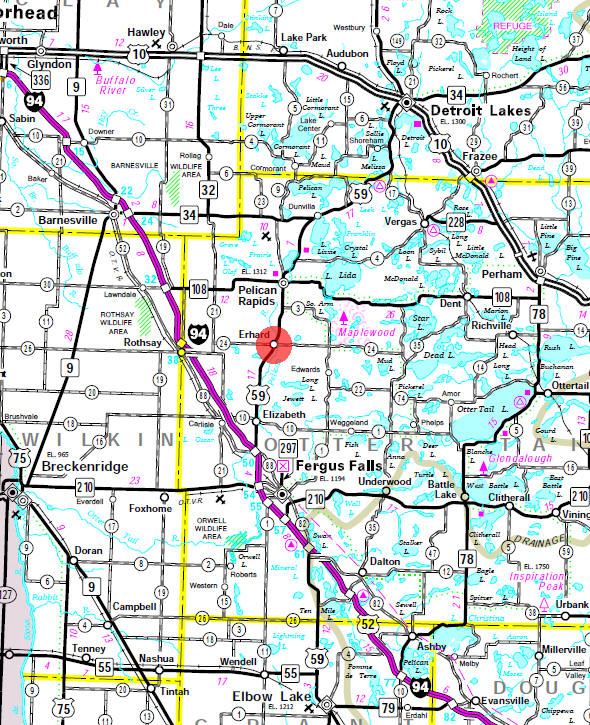 Minnesota State Highway Map of the Erhard Minnesota area