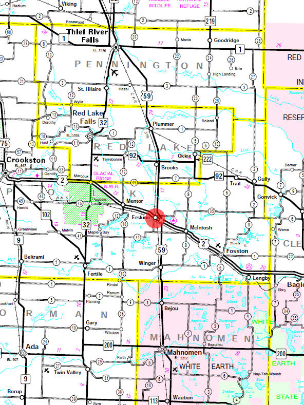 Minnesota State Highway Map of the Erskine Minnesota area