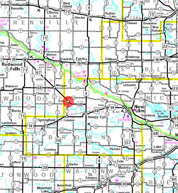 Minnesota State Highway Map of the Evan Minnesota area