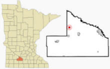 Location of Evan, Minnesota