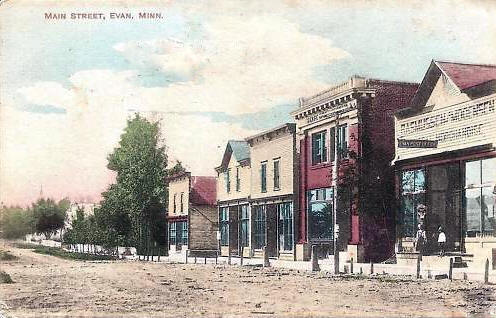 Main Street, Evan Minnesota, 1911