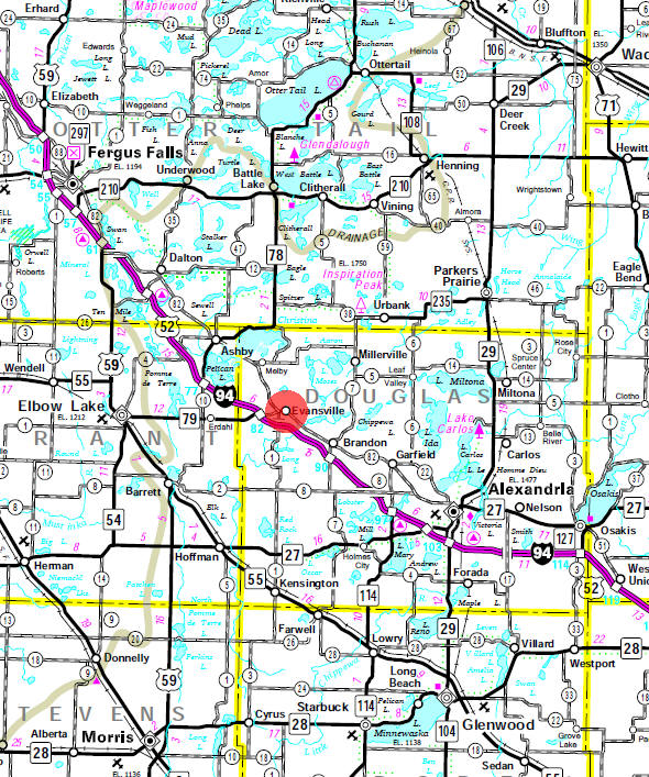 Minnesota State Highway Map of the Evansville Minnesota area