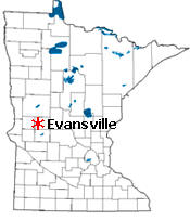 Location of Evansville Minnesota