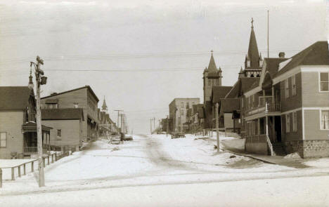Street scene during winter, Eveleth Minnesota, 1908