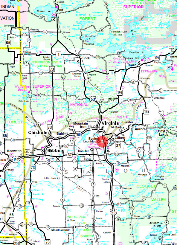Minnesota State Highway Map of the Eveleth Minnesota area