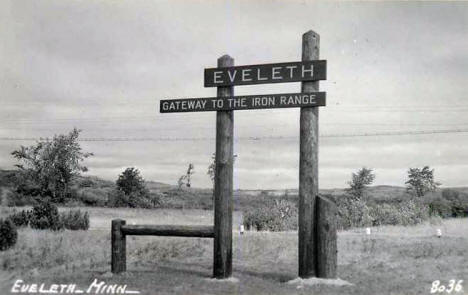 Eveleth Road Sign, Eveleth Minnesota, 1940's