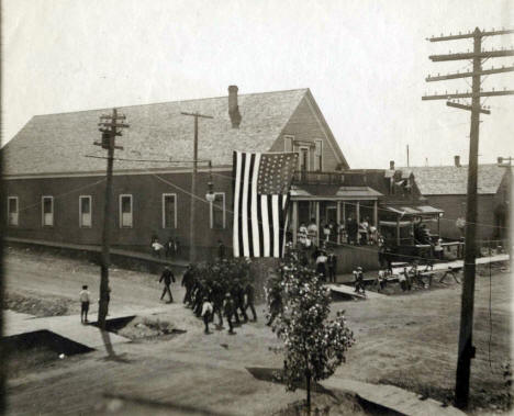 Urania Hall corner of Grant and Hayes on 4th of July, 1908