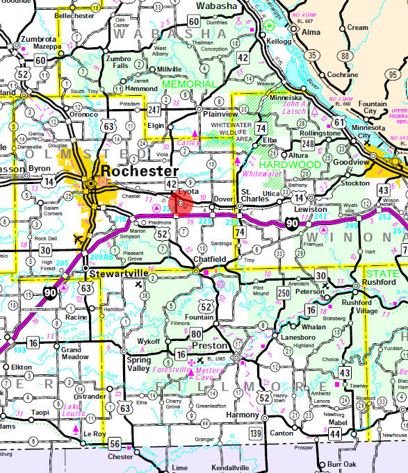 Minnesota State Highway Map of the Eyota Minnesota area