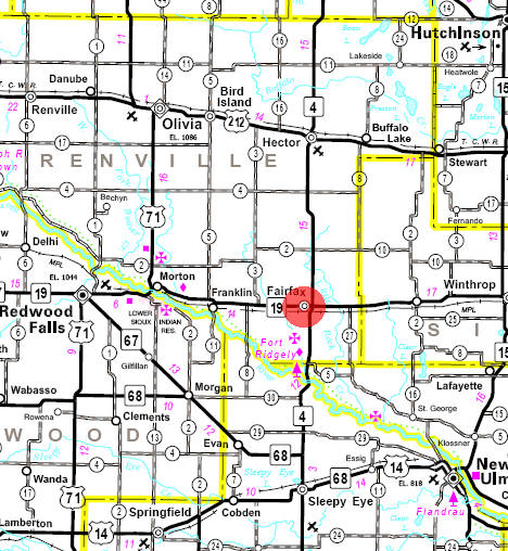 Minnesota State Highway Map of the Fairfax Minnesota area
