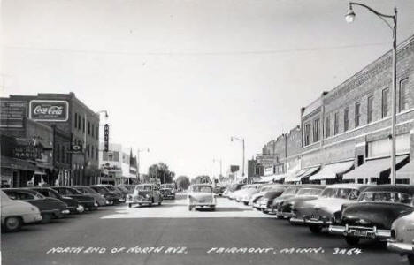 North end of North Avenue, Fairmont Minnesota, 1950's