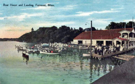 Boat House and Landing, Fairmont Minnesota, 1911