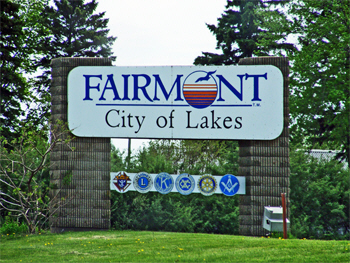 Welcome sign, Fairmont Minnesota