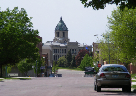 Street scene with Martin County Courthouse in background, Fairmont Minnesota, 2014