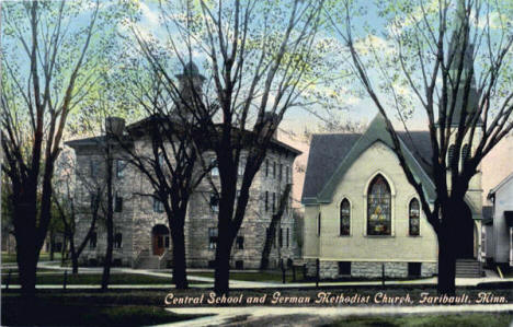 Central School and German Methodist Church, Faribault Minnesota, 1920's