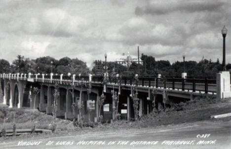Viaduct with St. Lucas Hospital in the background, Faribault Minnesota, 1952