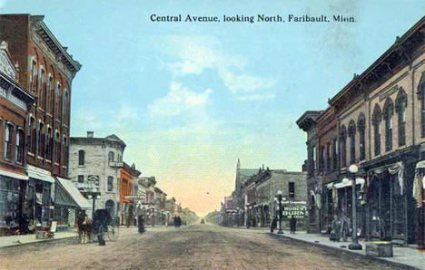 Central Avenue looking north, Faribault Minnesota, 1914