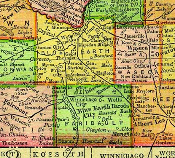 1895 Map of Faribault County Minnesota