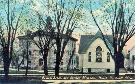 Central School and German Methodist Church, Faribault Minnesota, 1908
