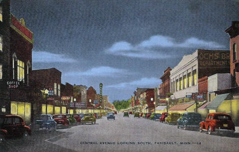 Central Avenue looking south, Faribault Minnesota, 1940's