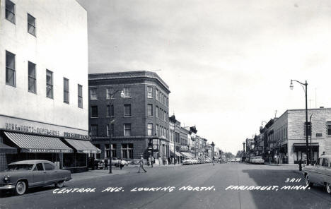 Central Avenue looking north, Faribault Minnesota, 1950's
