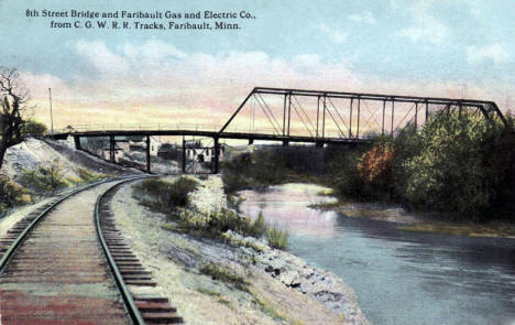 8th Street Bridge and Faribault Gas and Electric Company, Faribault Minnesota, 1916