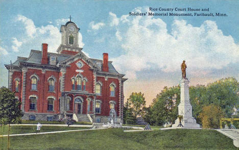 Rice County Court House and Soldiers Memorial Monument, Faribault Minnesota, 1910
