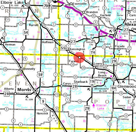 Minnesota State Highway Map of the Farwell Minnesota area