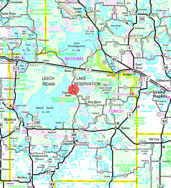 Minnesota State Highway Map of the Federal Dam Minnesota area