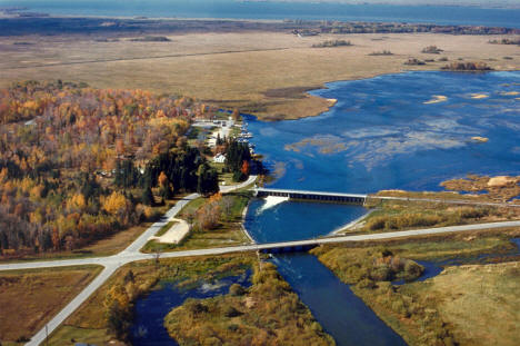 Aerial view, Leech Lake and Federal Dam, 2000