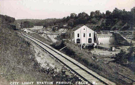 City Light Station under construction, Fergus Falls Minnesota, 1908