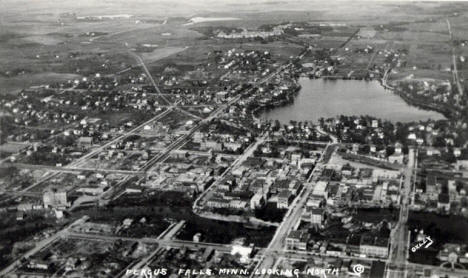 Aerial view, Fergus Falls Minnesota looking north, 1920's