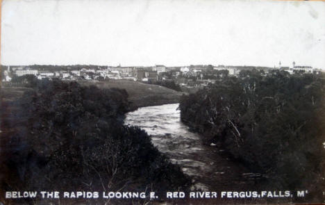 Below the rapids looking east on the Red River, Fergus Falls Minnesota, 1920's