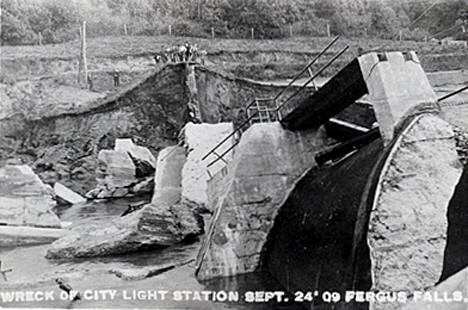 City Light Station after dam collapsed, Fergus Falls Minnesota, 1909