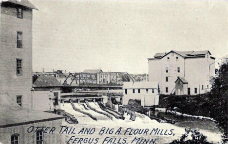 Otter Tail and Big A Flour Mills, Fergus Falls Minnesota, 1910's?