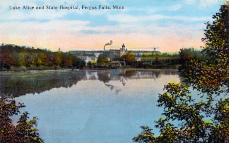 Lake Alice and State Hospital, Fergus Falls Minnesota, 1910's