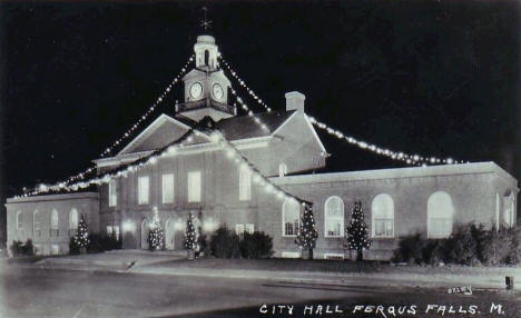 City Hall at Christmas, Fergus Falls Minnesota, 1950's?