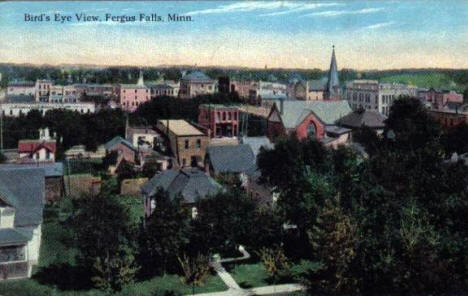 Bird's Eye View, Fergus Falls Minnesota, 1919