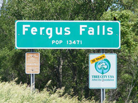 Fergus Falls Minnesota Population Sign