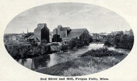 Red River and Mill, Fergus Falls Minnesota, 1914
