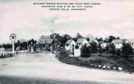 Boyum's Texaco Station and Tour Rest Cabins, Fergus Falls Minnesota, 1930's?