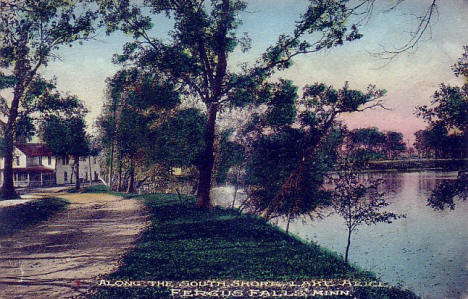 Along the south shore of Lake Alice, Fergus Falls Minnesota, 1920's?