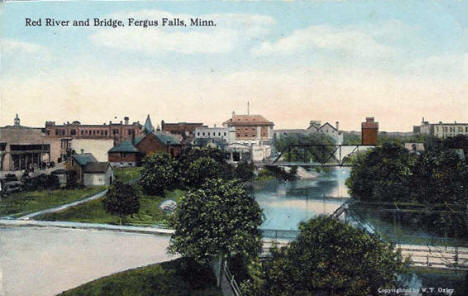 Red River and Bridge, Fergus Falls Minnesota, 1910's?