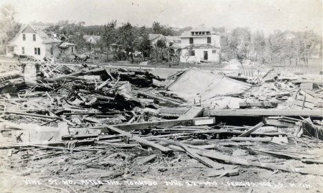 Vine Street after the tornado, Fergus Falls Minnesota, 1919