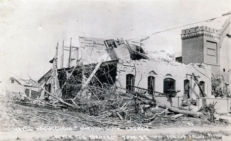Hotel McCutcheon and Swedish Lutheran Church after the tornado, Fergus Falls Minnesota, 1919