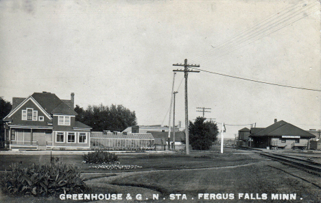 Greenhouse and Great Northern Station, Fergus Falls Minnesota, 1908