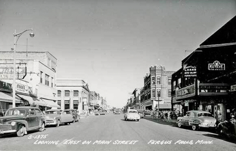 Looking east on Main Street, Fergus Falls Minnesota, 1950's