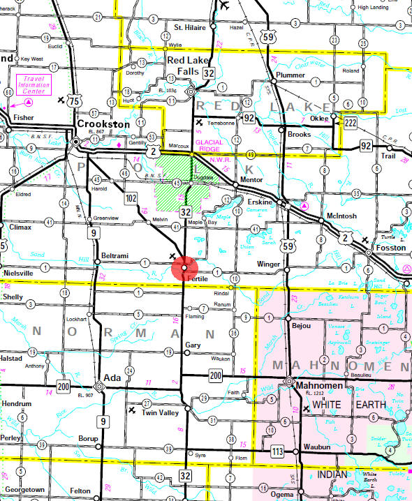 Minnesota State Highway Map of the Fertile Minnesota area