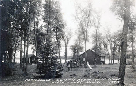 Gilman's Cabin Creek Camp, Fifty Lakes Minnesota, 1950's